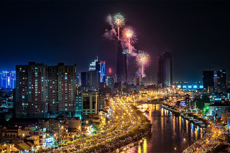 Fireworks on Saigon River