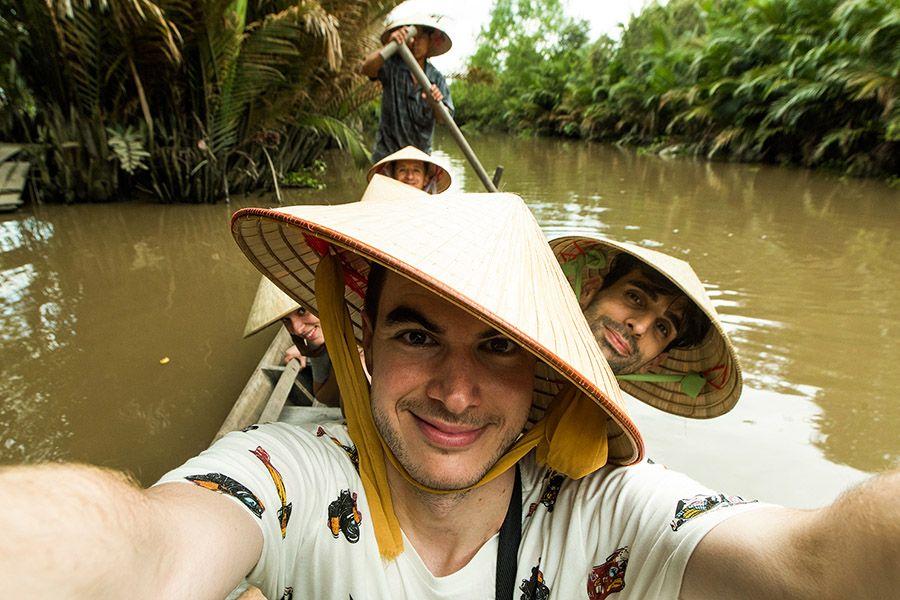 Rowling boat in Mekong Delta