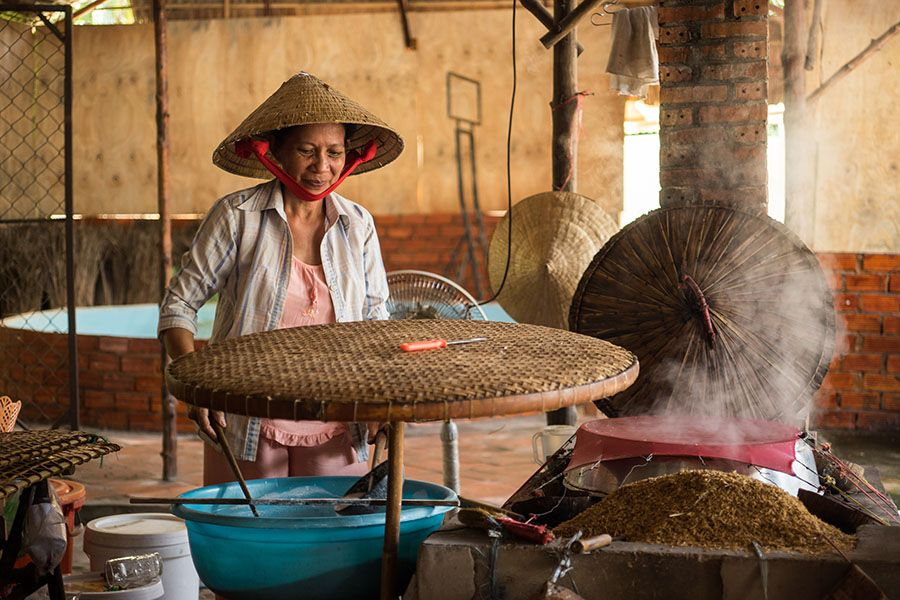 Making rice paper in mekong delta