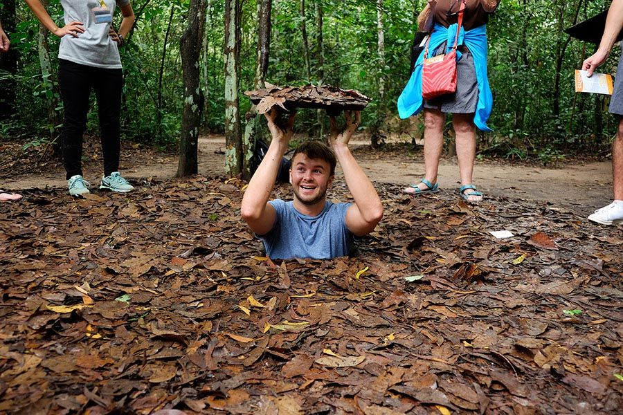 Tourist in Cu Chi Tunnels Tour