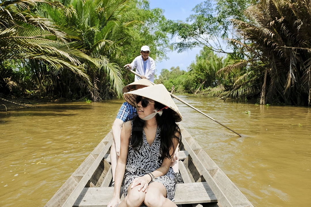 Rowing boat in Mekong Delta