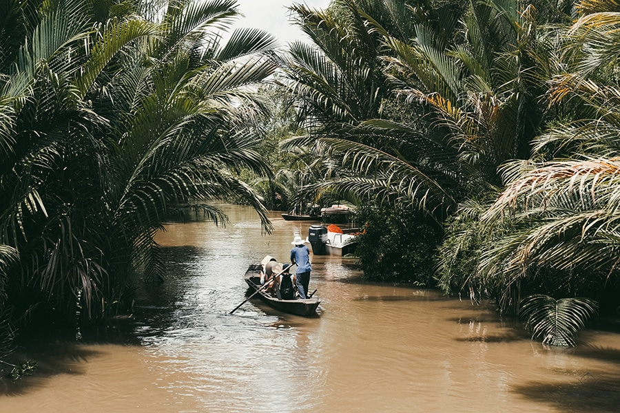 Rowing boat in the Mekong Delta