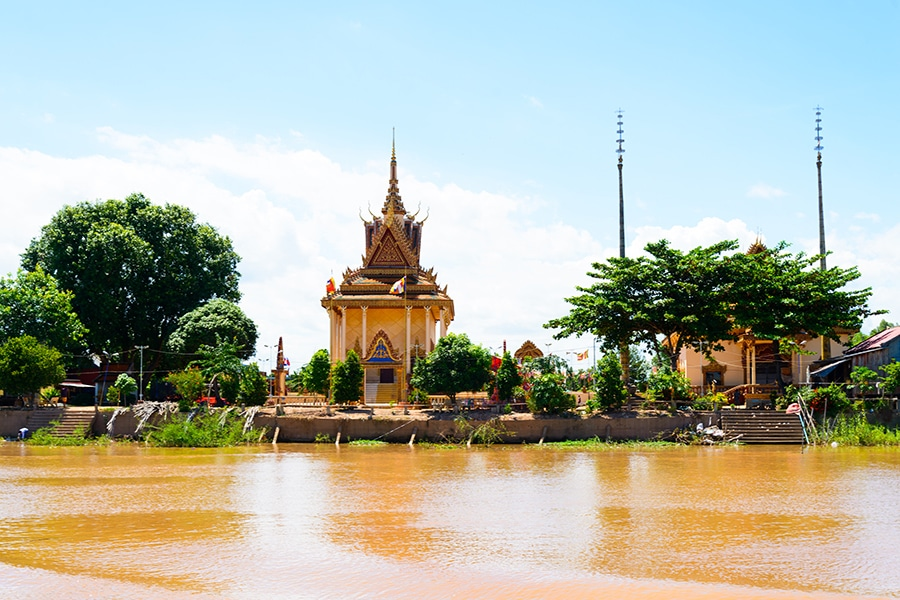Cambodian pagoda on mekong river