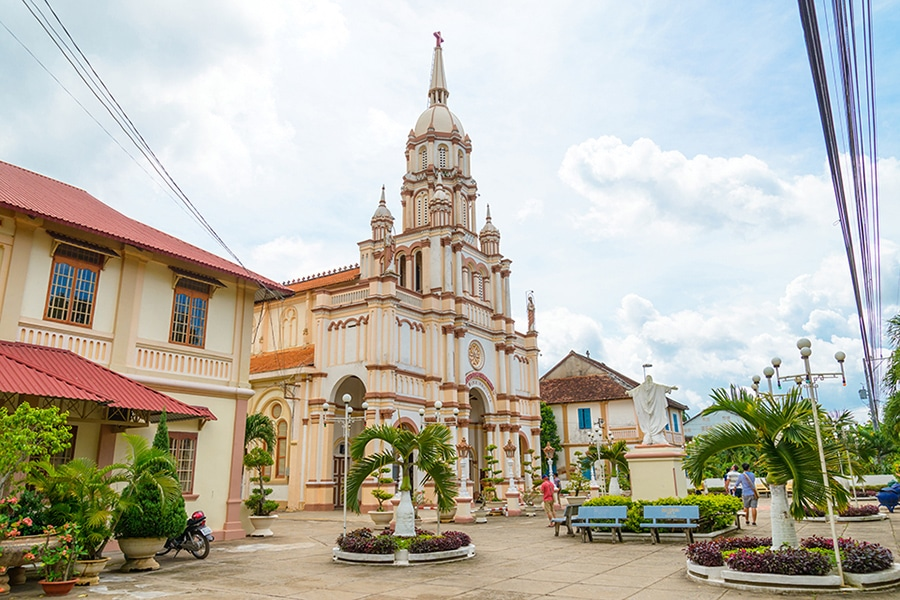 local ancient catholic church in the mekong delta